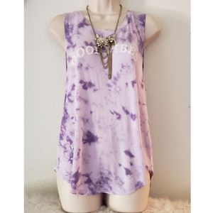 Tops - Good Vibes Purple Tie Dye Tank Top